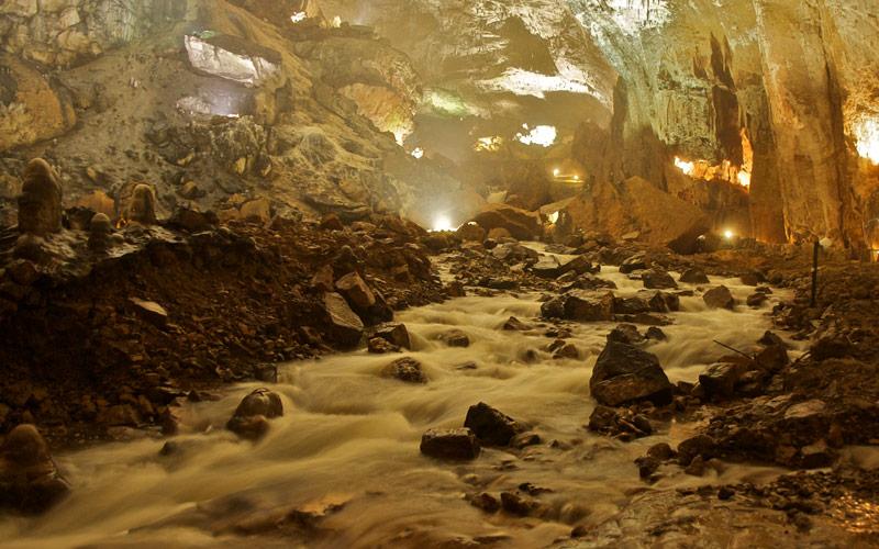 River inside the cave of Valporquero