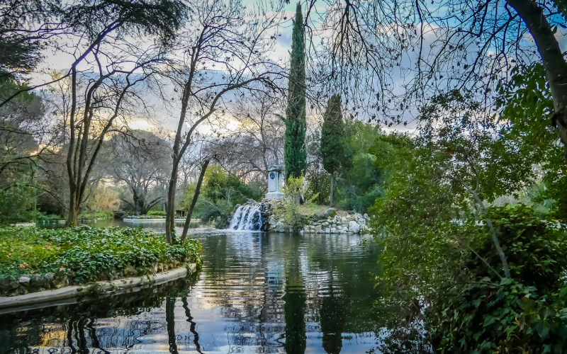 View of the gardens and main lake of El Capricho