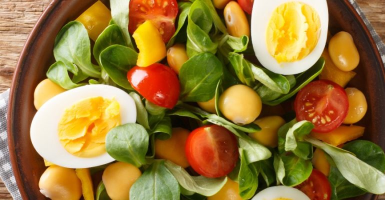Lupin, egg and lamb's lettuce salad