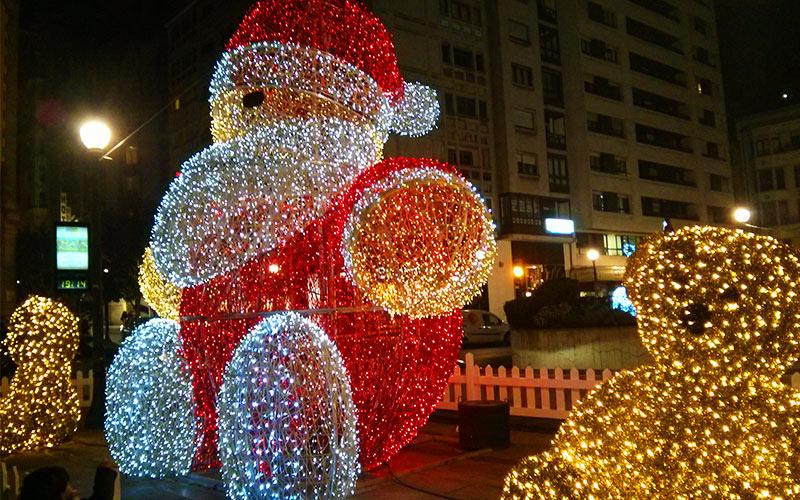 Santa Claus made of christmas lights