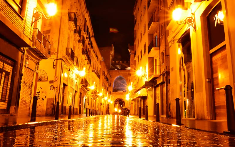Medieval streets by night in Valencia