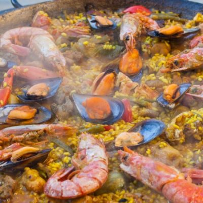 Paella Mixta (Seafood and Meat) Recipe, one of the most popular in the Mediterranean