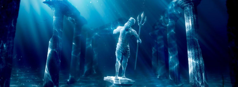 "Atlantis, the underwater city ""beyond the Pillars of Hercules"""