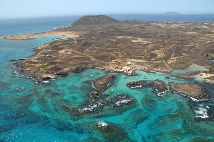 Aerial view of Lobos island